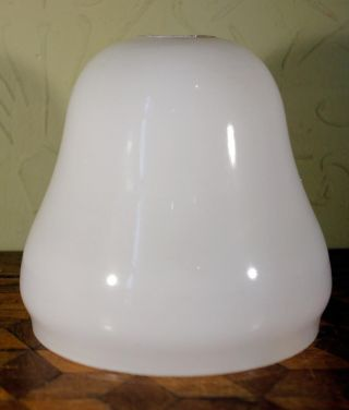 Vintage Art Deco Opaque Milk Glass Bell Lamp Light Shade White Wow photo