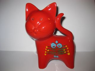 Red Cat Bitossi Piggy Bank Money Box Italy Mid Century Modern Red Pottery photo
