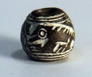 Pre - Columbian Black Running Lizard Bead.  Guaranteed Authentic. photo