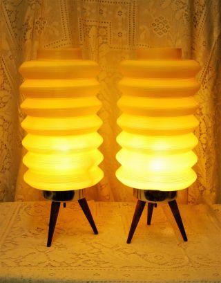 Pair - Vintage 60 ' S Yellow Beehive Accordion Tripod Plastic Lamps Mcm Danish photo