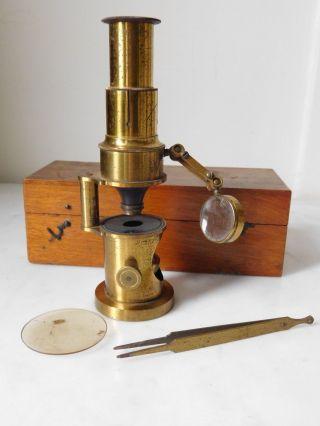19th Century Cased Brass Drum Field Microscope photo