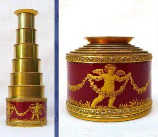 Georgian Antique Gilded Brass 6 Draw Spyglass Monocular Telescope C1800 photo