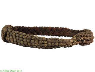 Kuba Cowrie Belt Braided Raffia Shells Congo African Art photo