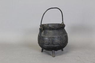Rare Small Size 18th C Cast Iron Hanging Tall Footed Pot In Old Painted Surface photo