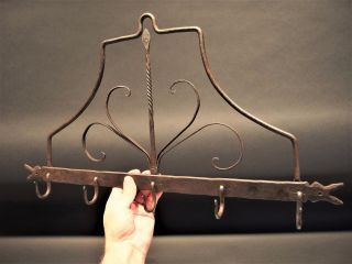 Primitive Antique 19th C Hand Forged Wrought Iron Utensil Herb Pot Rack Aafa photo