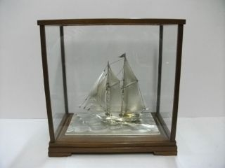 The Sailboat Of Sterling Silver Of Japan.  2masts.  122g/ 4.  29oz.  Japanese Antiqu photo