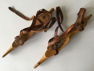 Antique J.  Nooitgedagt & Znijlst Wood Ice Skates photo