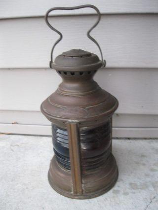 Vintage Ships Lantern Geo Carpenter Chicago Starboard Port Brass Triplex Navigat photo