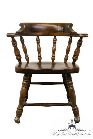 Ethan Allen Antiqued Pine Old Tavern Mate's Chair W/ Casters 12 - 6001 photo