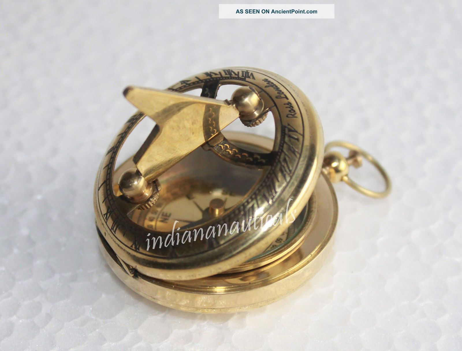 Nautical Brass Push Button Sundial Compass Maritime Rose London 2