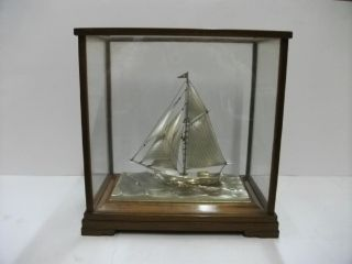 The Sailboat Of Sterling Silver Of Japan.  105g/ 3.  70oz.  Japanese Antique photo