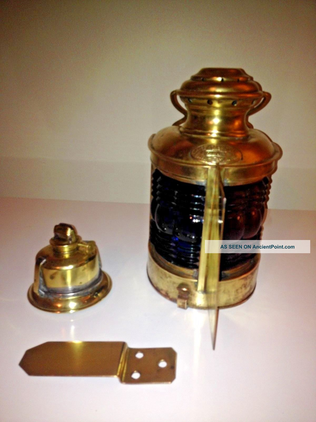 Antique 1910 Triplex Brass Bow Lantern - All Including Mounting Bracket Lamps & Lighting photo