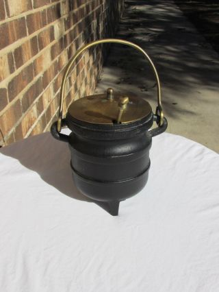 Cast Iron Smudge Pot,  Fire Starter,  Cauldron,  Brass Lid,  Vintage photo