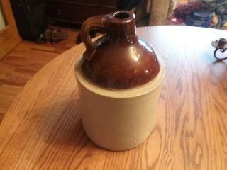 Antique Stoneware Whiskey Jug Brown/white Old Moonshine Bottle 11