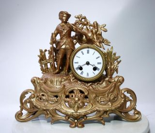 Antique 1860 French Clock Hunting Gracieus Statue Romantic Renovated photo