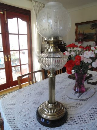 Victorian Wright & Butler Cut Crystal Oil Lamp. photo