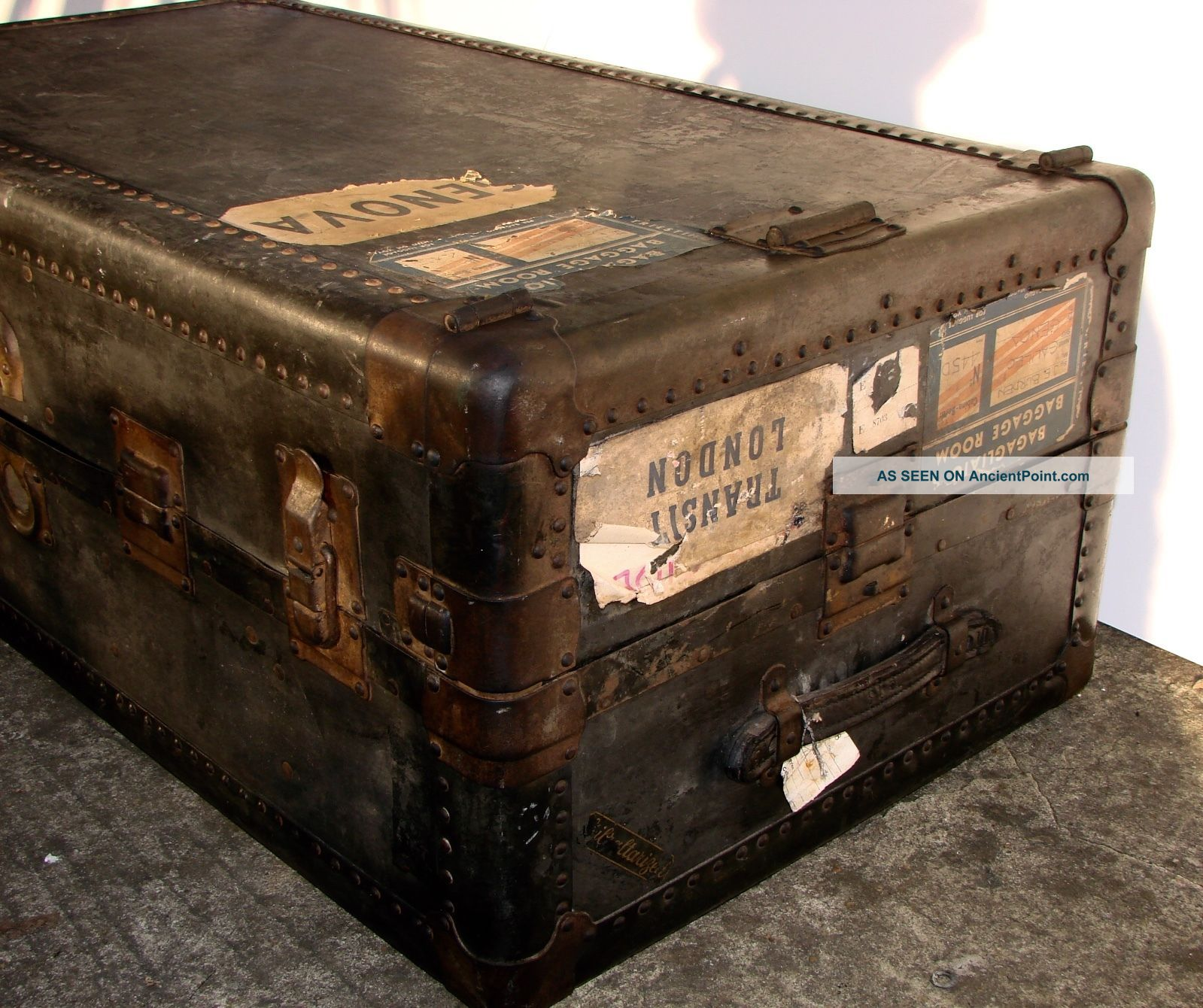 Antique Hartmann Gibraltarized Wardrobe Steamer Trunk Chest Case Coffee Table 1800-1899 photo