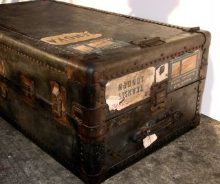 Antique Hartmann Gibraltarized Wardrobe Steamer Trunk Chest Case Coffee Table photo