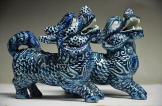 Collectible Chinese Porcelain Handwork Carved Pair Unicorn Statue photo