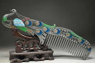 Chinese Cloisonne Copper Old Handwork Peacock Comb photo