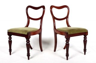 Pair Antique Chairs 2 Victorian Balloon Back Chairs Mahogany 19th Century Side B photo
