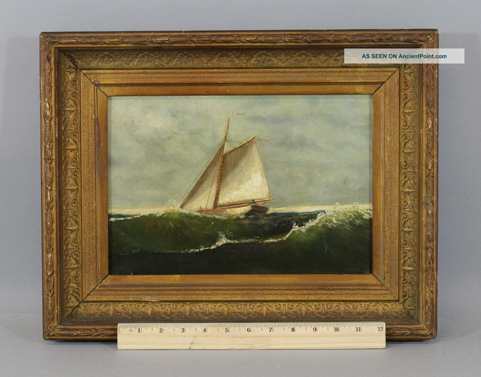 19thc Antique American,  Maritime Sailboat Ship,  O/c Oil Painting Frame Other Maritime Antiques photo