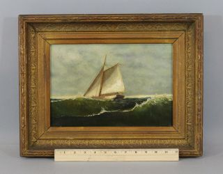 19thc Antique American,  Maritime Sailboat Ship,  O/c Oil Painting Frame photo