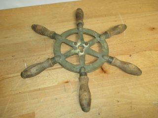 C1900s Wilcox Crittenden Signed Cast Iron & Wood Six Spoke Ships Wheel photo