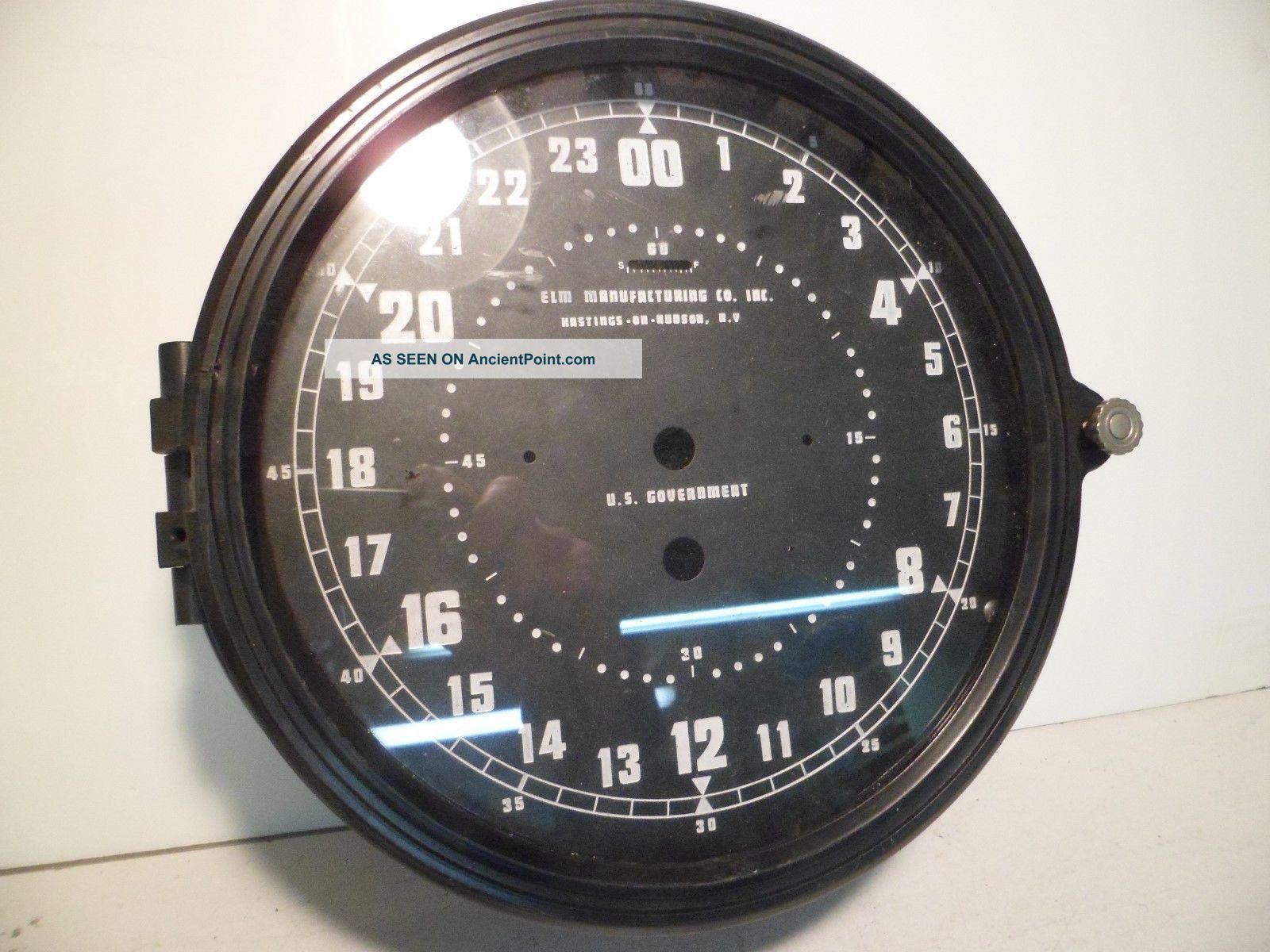 Nos 8 1/2 Inch Elm Manufacturing Military Navy Plastic Clock Case W/ 24 Hr Dial Clocks photo