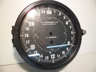Nos 8 1/2 Inch Elm Manufacturing Military Navy Plastic Clock Case W/ 24 Hr Dial photo