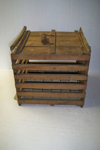 Antique Vintage Humpty Dumpty Wooden Chicken Egg Crate Box: Owosso Mfg Co photo