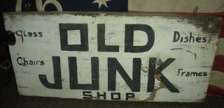 Antique Early 1900s Old Junk Shop Trade Sign Paint Primitive Folk Vafo photo