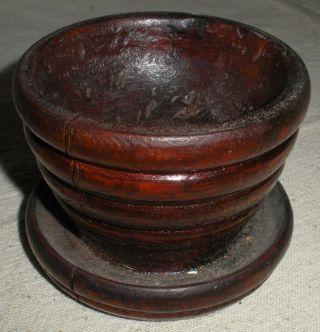 Antique C.  1650 – 1750 Pilgrim Era Carved Wood Salt Container Plymouth,  Ma.  Vafo photo