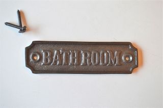 Antique Style Cast Iron Bathroom Door Sign Plaque C/w Screws Gw2 photo