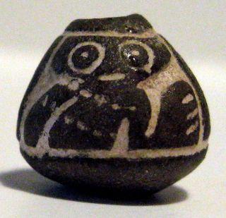Pre - Columbian Black Owl Bead.  Guaranteed Authentic. photo