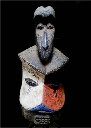 Old Tribal Suku Helmet Mask - - D R Congo Bn 17 photo