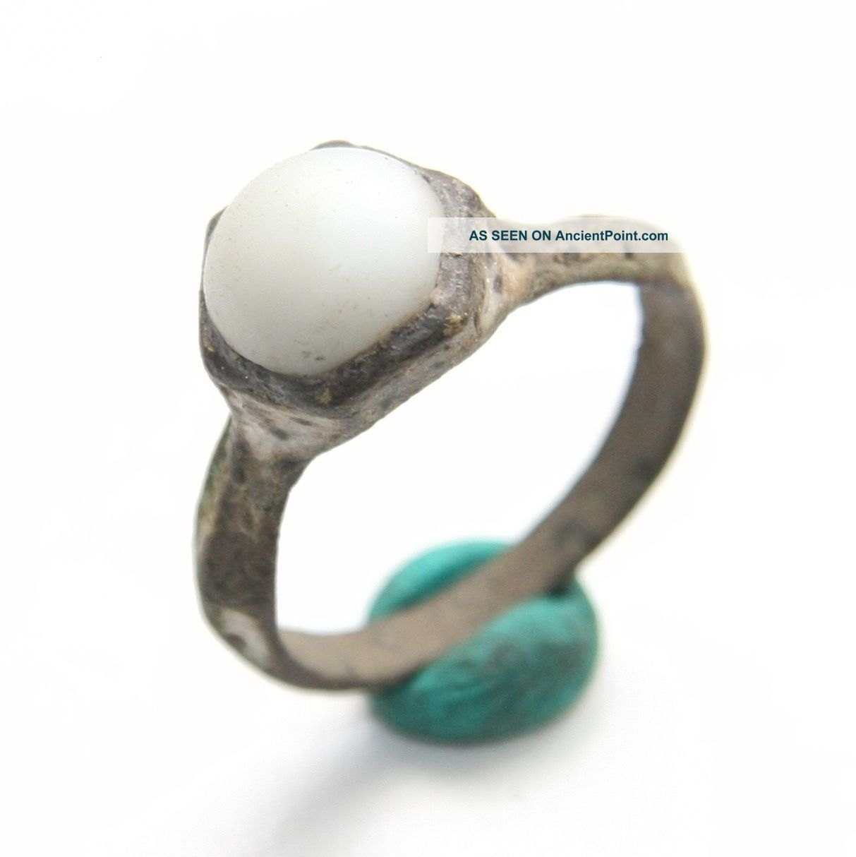 Ancient Medieval Bronze Finger Ring With White Stone Inlay (mcr) Byzantine photo