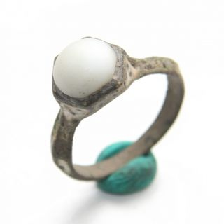 Ancient Medieval Bronze Finger Ring With White Stone Inlay (mcr) photo