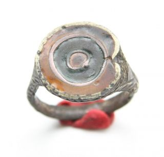Ancient Bronze Ornament Finger Ring With Enamel (nbw) photo