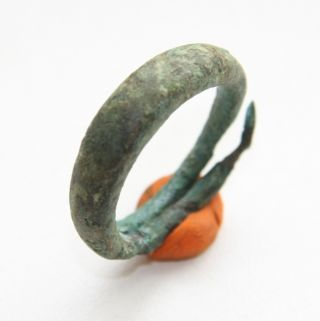 Ancient Old Viking Bronze Decorated Ring (max) photo