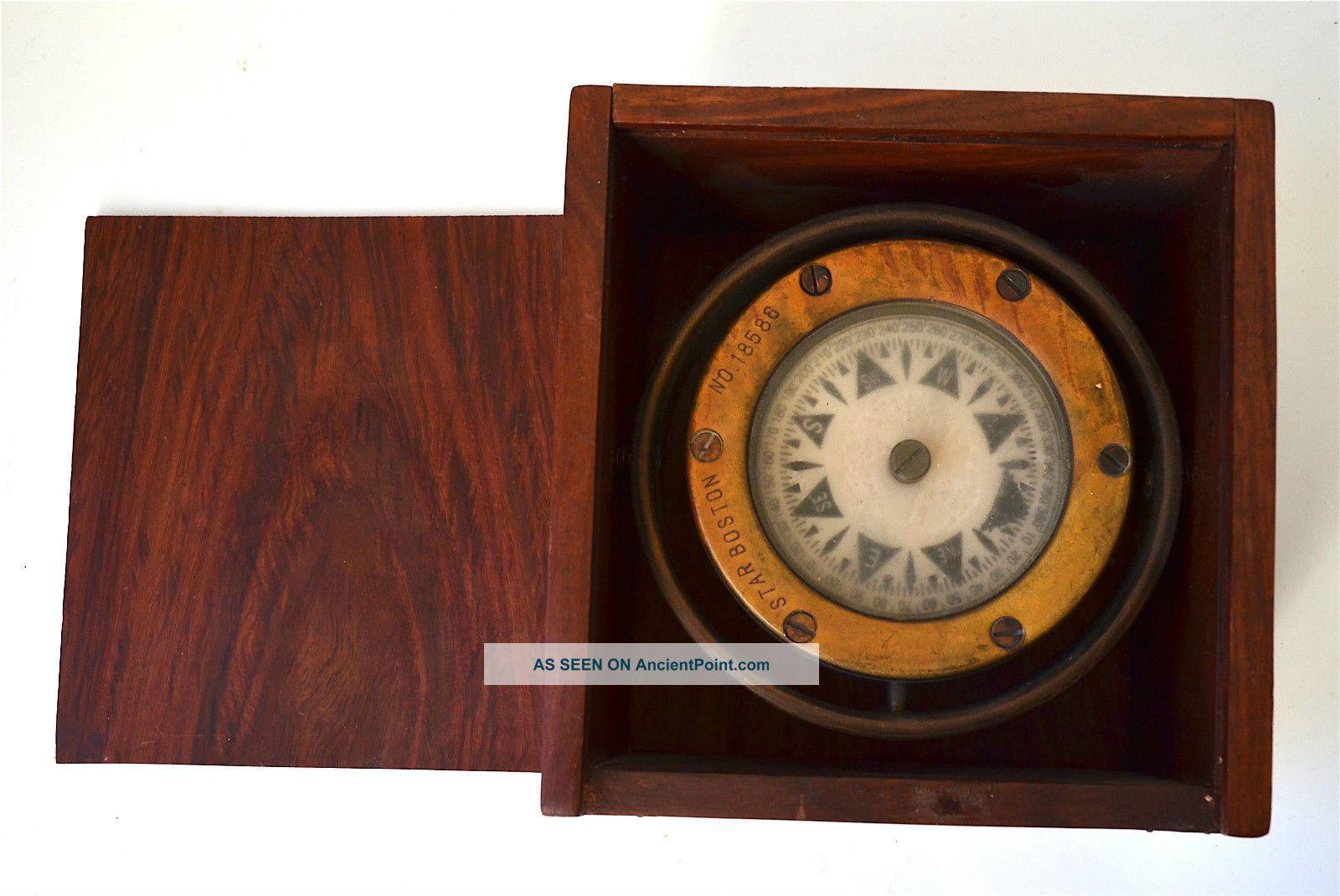 S.  S.  Atlantic 1905 Compass Star Boston No.  18586 In Wooden Box Compasses photo