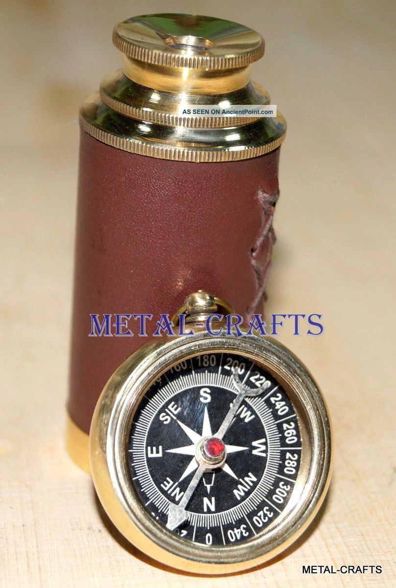 Antique Brass Compass Nautical Vintage Brass Telescope Naval Spyglass Gifts Lid Compasses photo