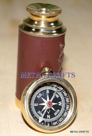 Antique Brass Compass Nautical Vintage Brass Telescope Naval Spyglass Gifts Lid photo