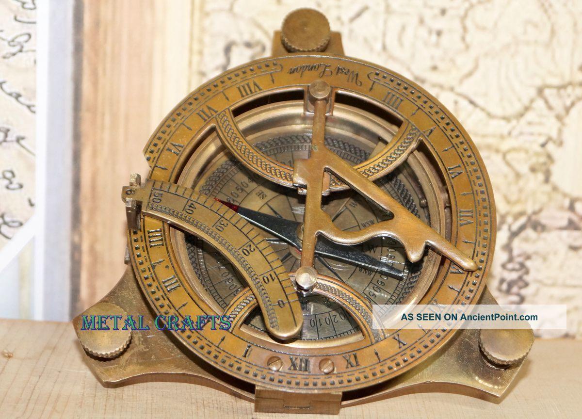 Nautical Bronze Sundial Compass - Antique Brass Sundial Compass Lid Astronomic Compasses photo