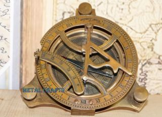 Nautical Bronze Sundial Compass - Antique Brass Sundial Compass Lid Astronomic photo