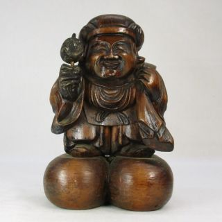 F717: Japanese Old Wood Carving God Of Wealth Daikoku Statue With Good Taste photo