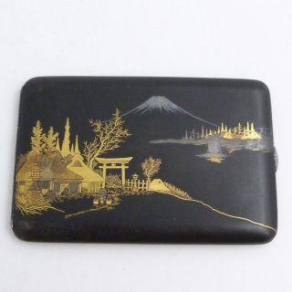 Vintage Japanese Ogurusu Damascene Mount Fuji Scene Cigarette Case photo