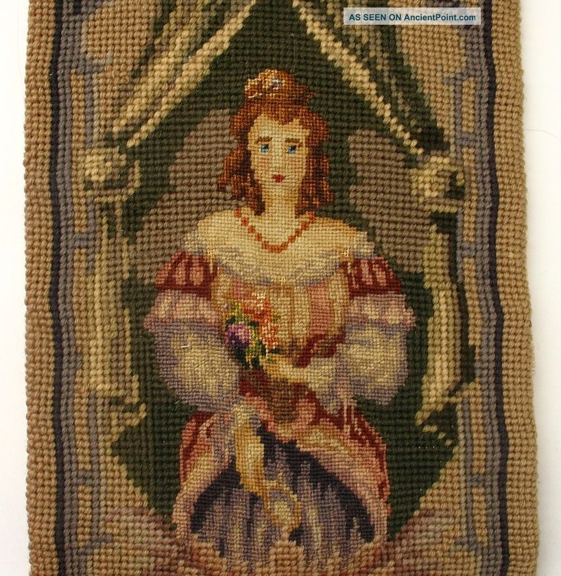 Antique/vintage Needlepoint Tapestry Bell Pull/runner,  People/woman/man,  Mandolin Tapestries photo
