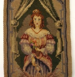 Antique/vintage Needlepoint Tapestry Bell Pull/runner,  People/woman/man,  Mandolin photo
