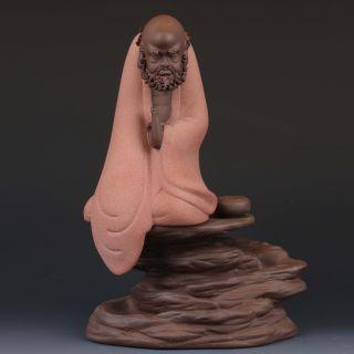 China Yixing Zisha Handmade Carved Buddhism Statues G245 photo